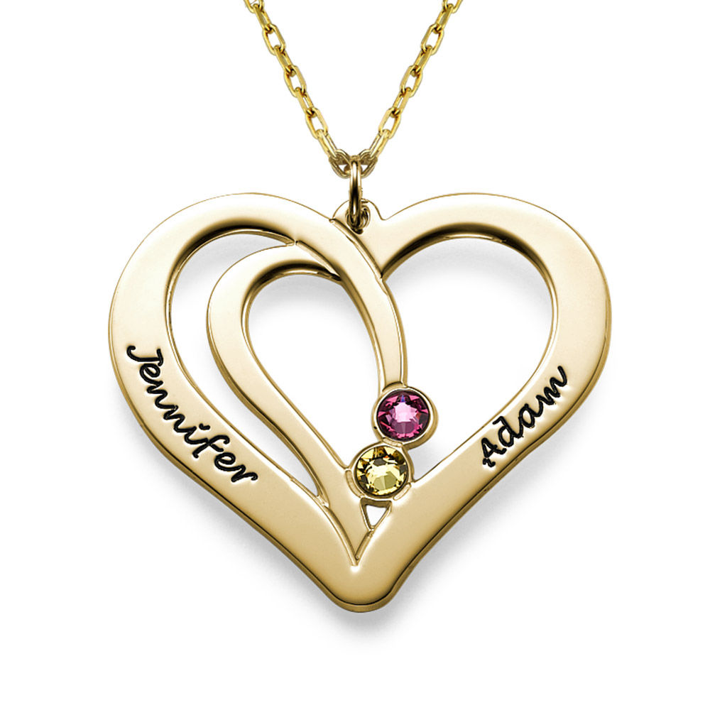 Engraved Couples Birthstone Necklace in 10ct Solid Gold