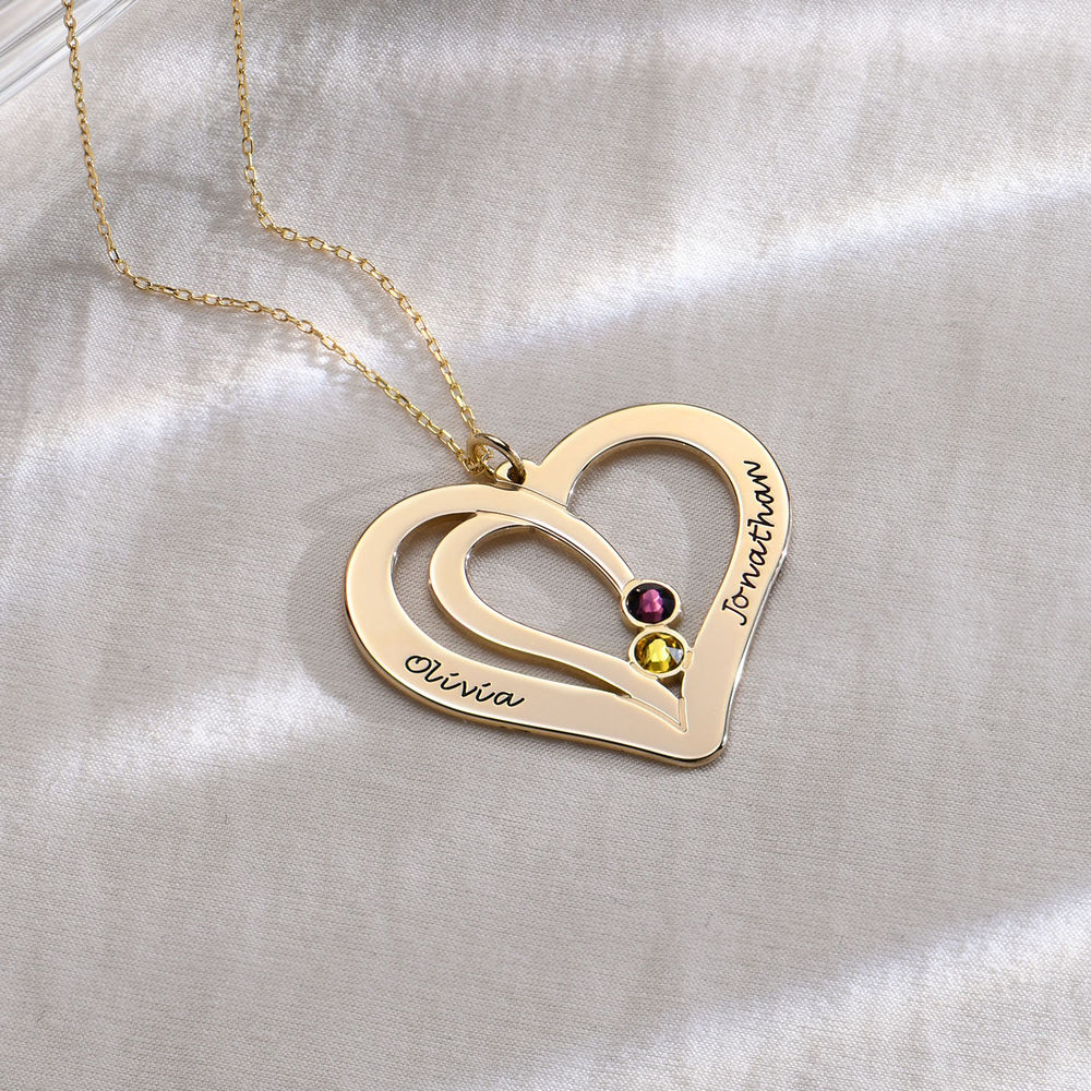 Engraved Couples Birthstone Necklace in 10ct Solid Gold - 1