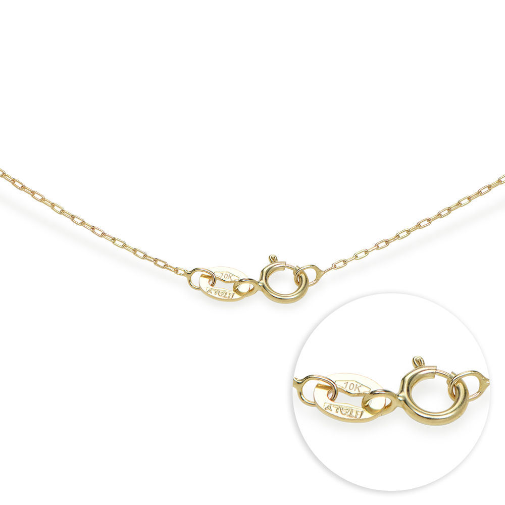 Engraved Couples Birthstone Necklace in 10ct Solid Gold - 4