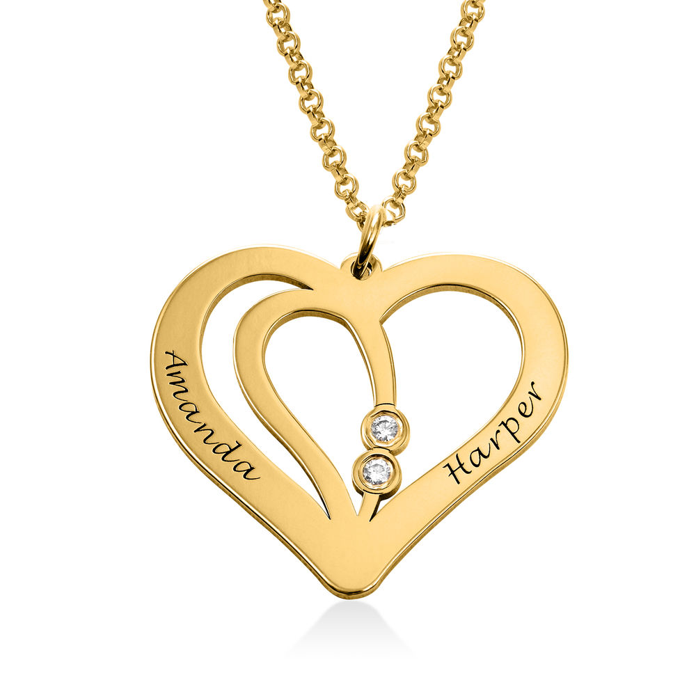 Engraved Couples Necklace in 18ct Gold Plated with Diamond