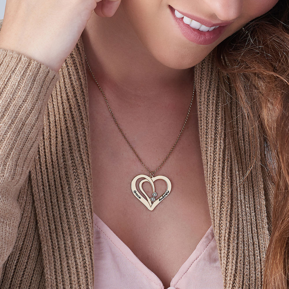 Engraved Couples Necklace in 18ct Gold Plated with Diamond - 2