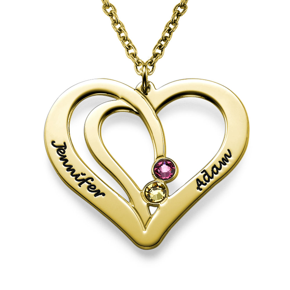 Engraved Couples Birthstone Necklace in 18ct Gold Vermeil