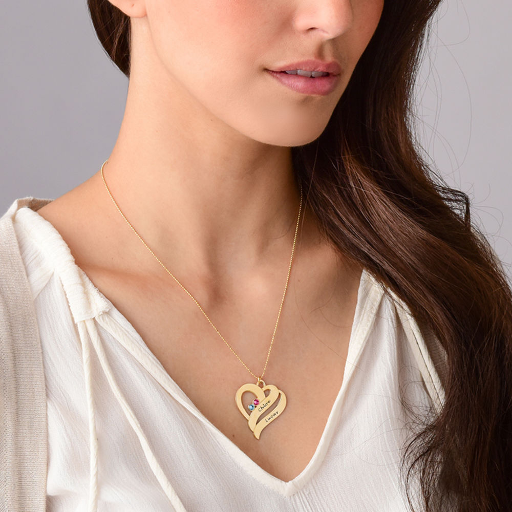 Two Hearts Forever One Necklace - 10ct Gold - 4