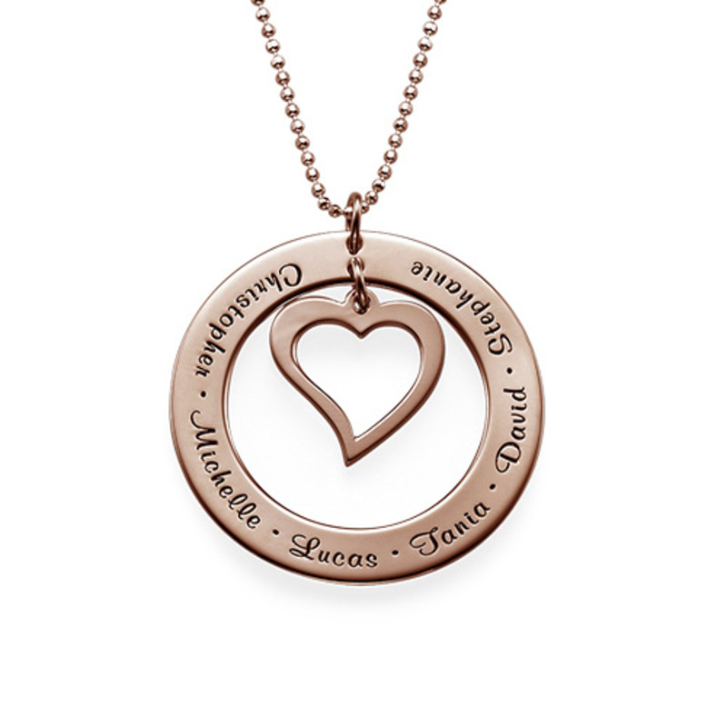 Love My Family Necklace - Rose Gold Plated