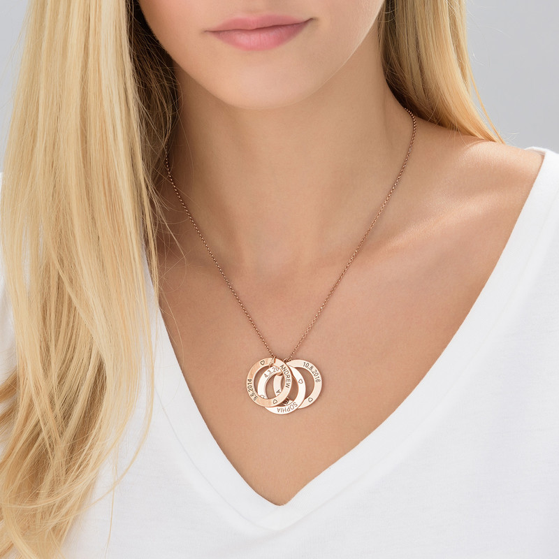 Engraved Family Circle Necklace - Rose Gold Plated - 2
