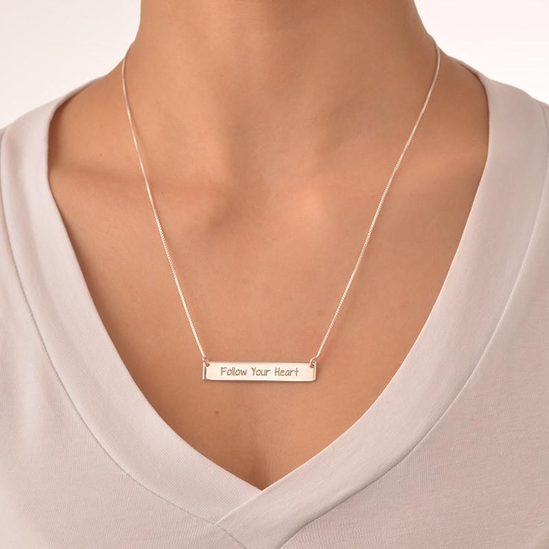 Follow Your Heart Inspirational Bar Necklace - 1