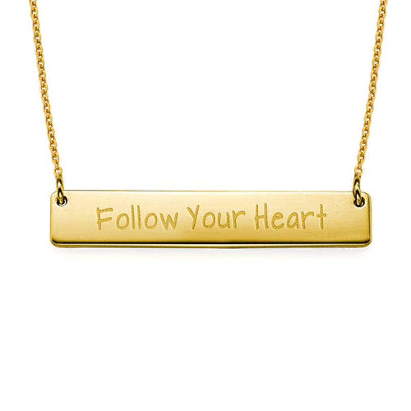 Follow Your Heart Inspirational Bar Necklace GP
