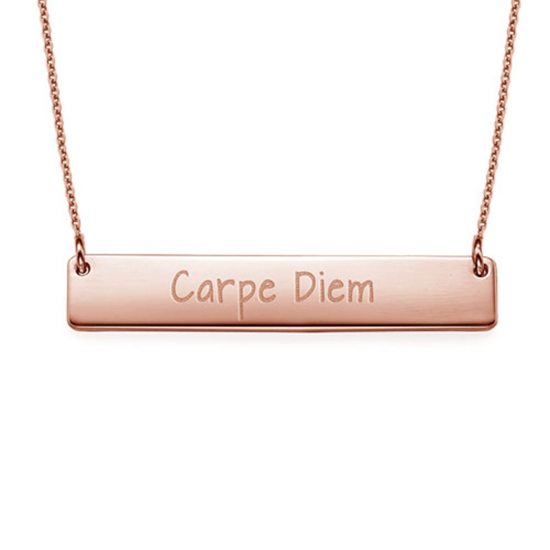 "Inspirational Jewellery - ""Carpe Diem"" Bar Necklace RGP"
