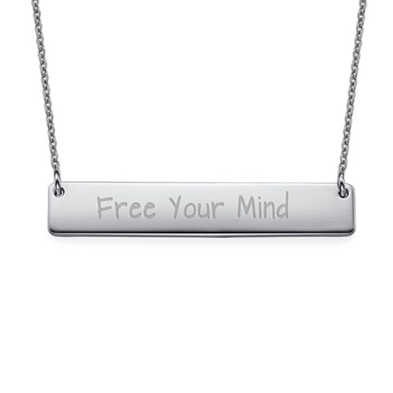 """Inspirational Gifts - """"Free Your Mind"""" Bar Necklace SILVER"""