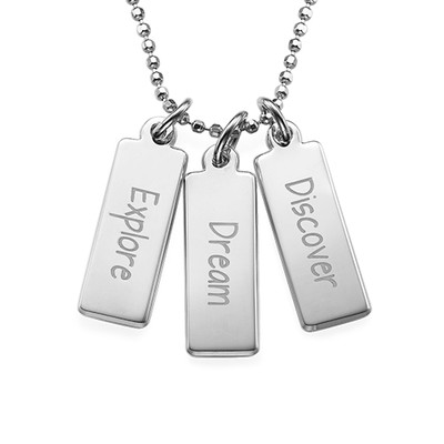 "Inspirational Necklace - ""Explore Dream Discover"" SILVER"