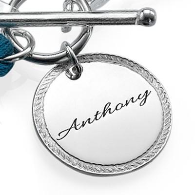 Sterling Silver Engraved Disc and Tassel Bracelet - 1
