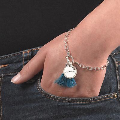 Sterling Silver Engraved Disc and Tassel Bracelet - 3
