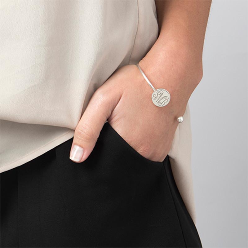 Monogram Bangle Bracelet in Silver - Adjustable - 2