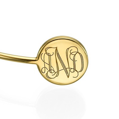 Monogram Bangle Bracelet in Gold Plating - Adjustable - 1