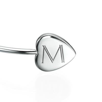 Personalised Bangle Bracelet in Silver - Adjustable - 1