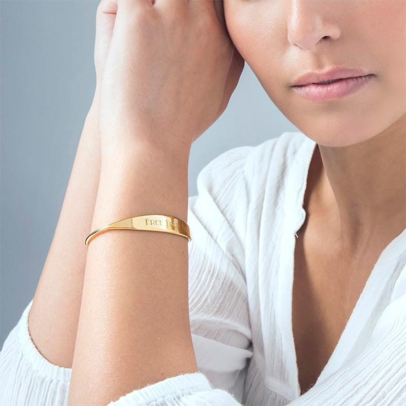 18ct Gold Plated ID Bangle Bracelet - 1