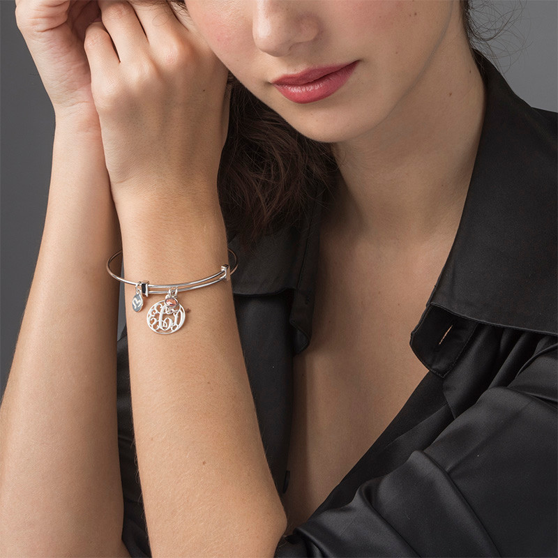 Cut Out Monogram Bangle with Charms - 2
