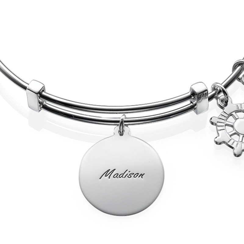 Bangle Bracelet with Anchor Charm - 1