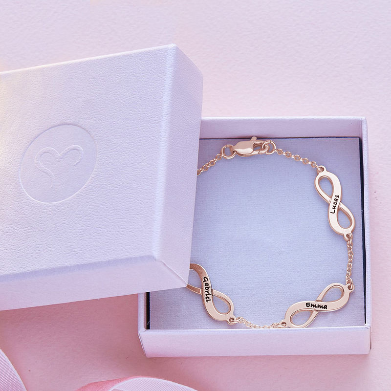 Multiple Infinity Bracelet with Rose Gold Plating - 5