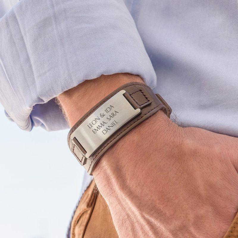 Men's ID Bracelet in Brown Leather - 3