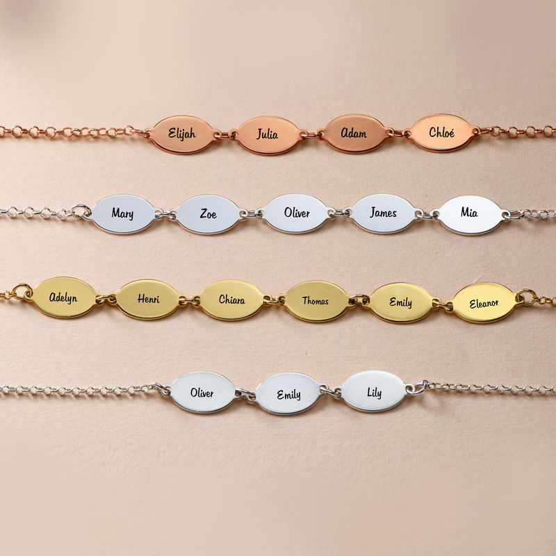 Mum Bracelet with Kids Names - Oval Design - 3