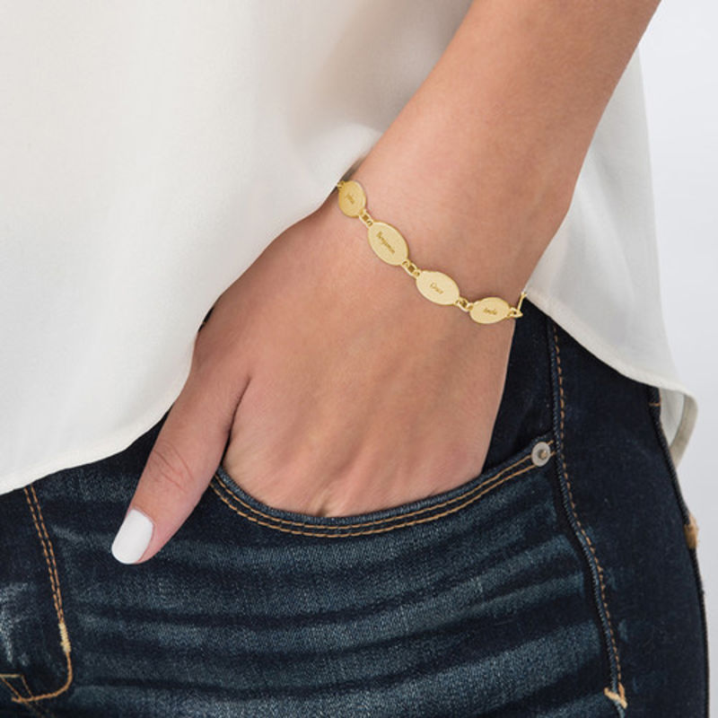 Gold Plated Mum Bracelet with Kids Names - Oval Design - 2