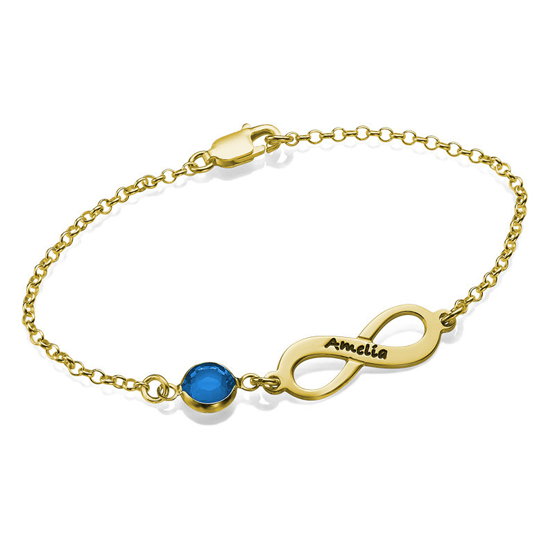Infinity Birthstone Bracelet in Gold Plated