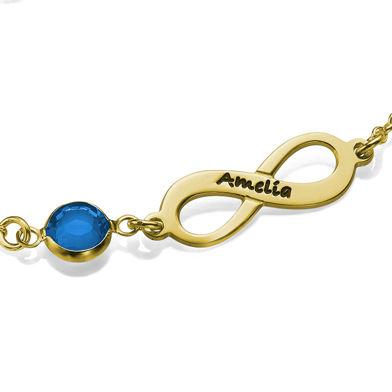 Infinity Birthstone Bracelet in Gold Plated - 1
