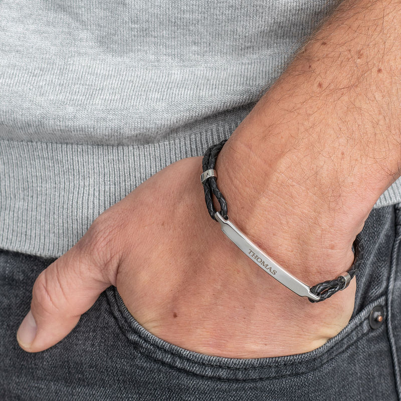 ID Bracelet for Men in Stainless Steel and Black Leather - 2
