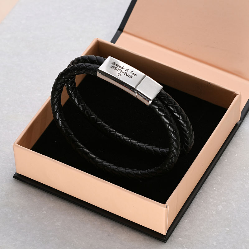 Engraved Bracelet for Men in Stainless Steel and black leather  - 4