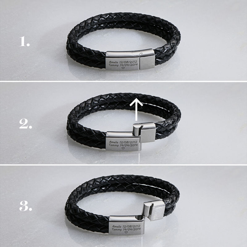 Engraved Bracelet for Men in Stainless Steel and black leather  - 5