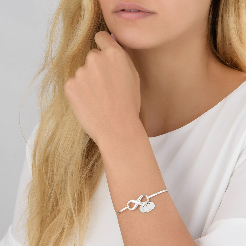 Infinity Bangle Bracelet with Initial Charms in Silver - 3