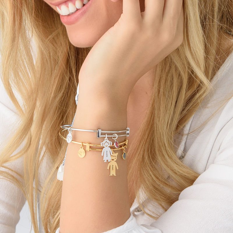 Bangle Bracelet with Kids Charms - 3