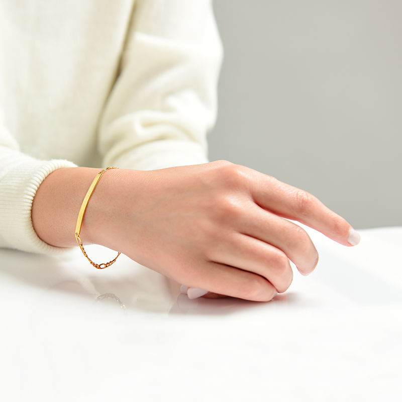 ID Bracelets Set for Men and Women with Gold Plating - 3