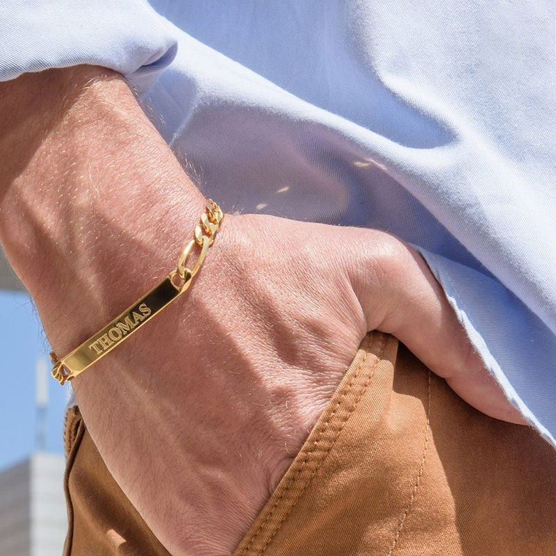 ID Bracelets Set for Men and Women with Gold Plating - 4