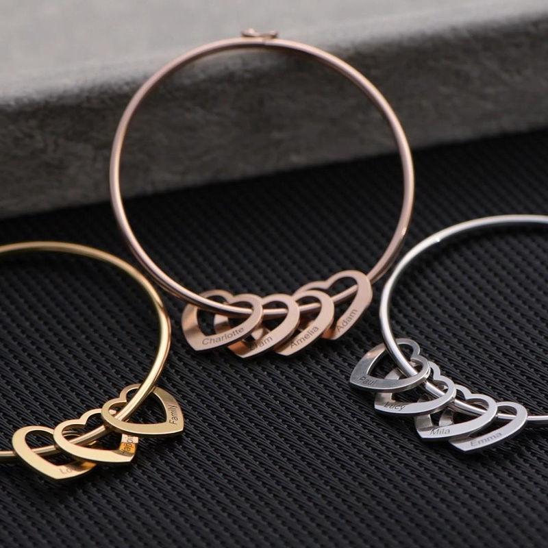 Bangle Bracelet with Heart Shape Pendants in Silver - 2
