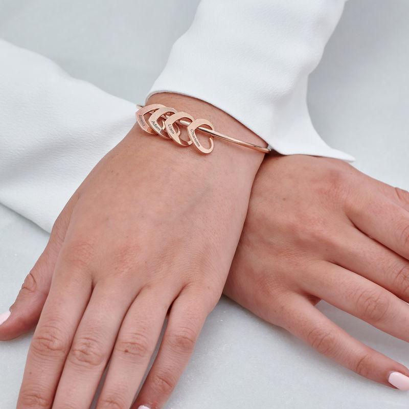 Bangle Bracelet with Heart Shape Pendants in Rose Gold Plating - 4