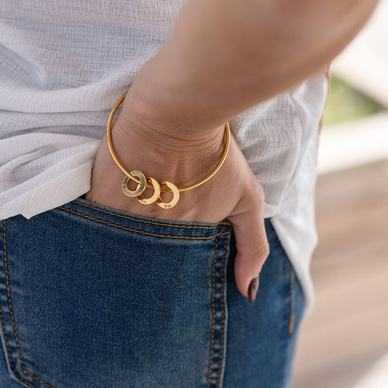 Bangle Bracelet with Round Shape Pendants in Gold Plating - 4