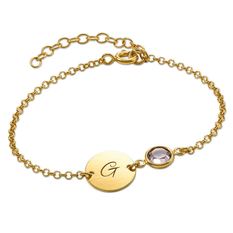 Initial Bracelet with Birthstone in Gold Plating