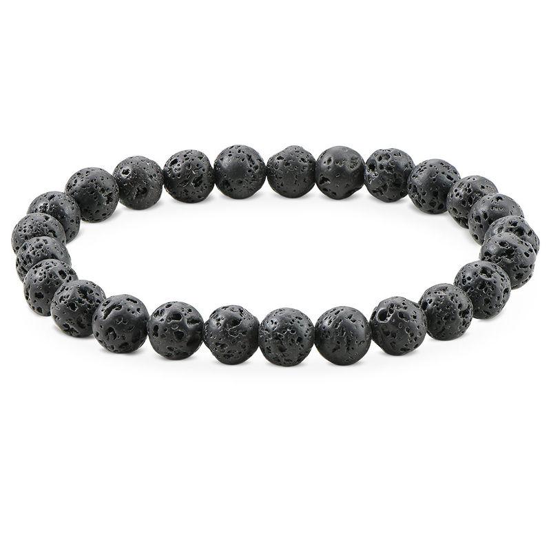 Lava Stone Men's Beaded Bracelet