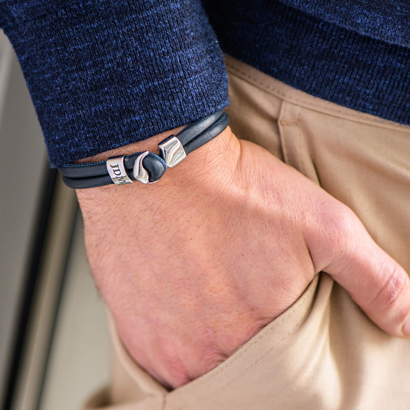 Anchor Bracelet for Men with Engraved Initial in Silver - 3