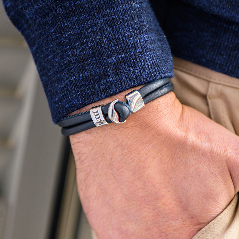 Anchor Bracelet for Men with Engraved Initial in Silver - 4