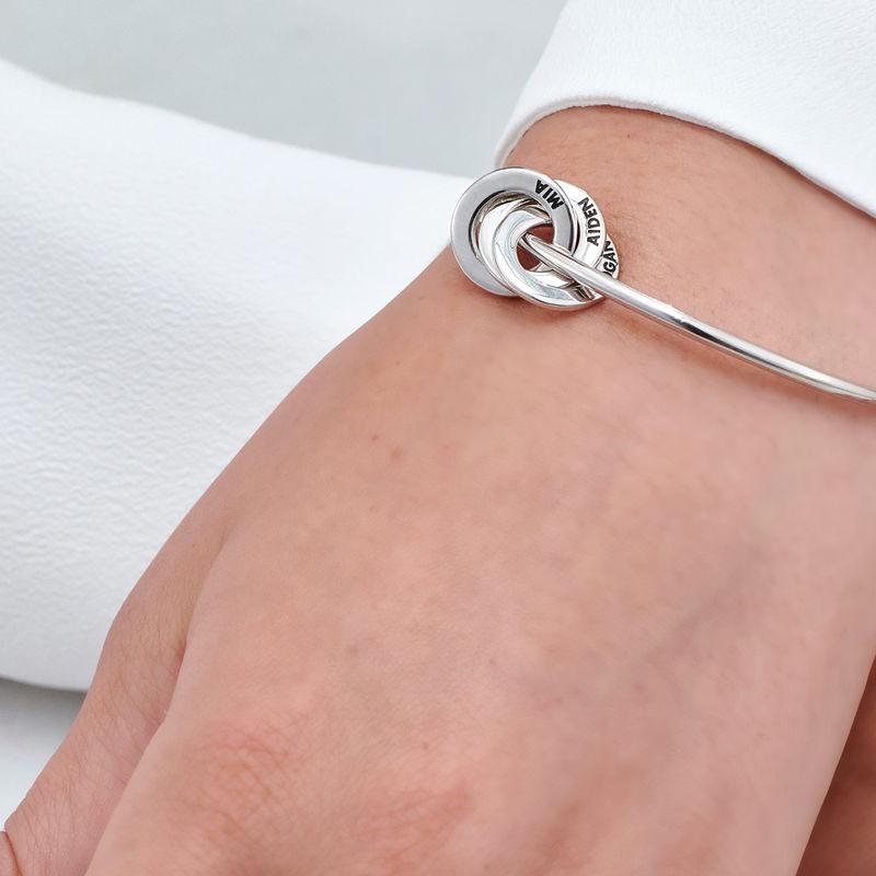 Russian Ring Bangle Bracelet in Silver - 4