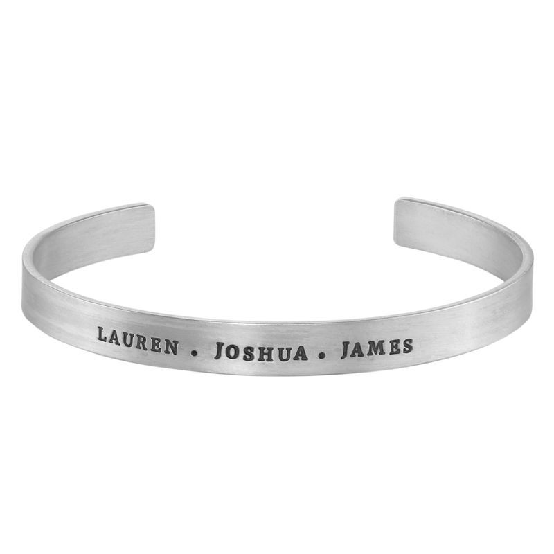 Engraved Men Cuff Bracelet in Silver