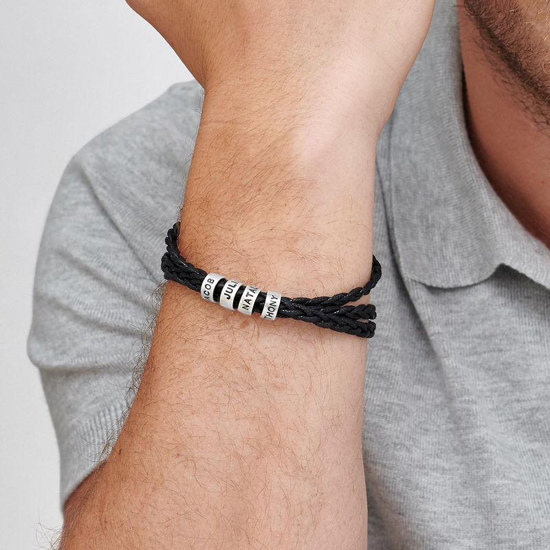 Men Bracelet with Small Custom Beads in Silver - 3