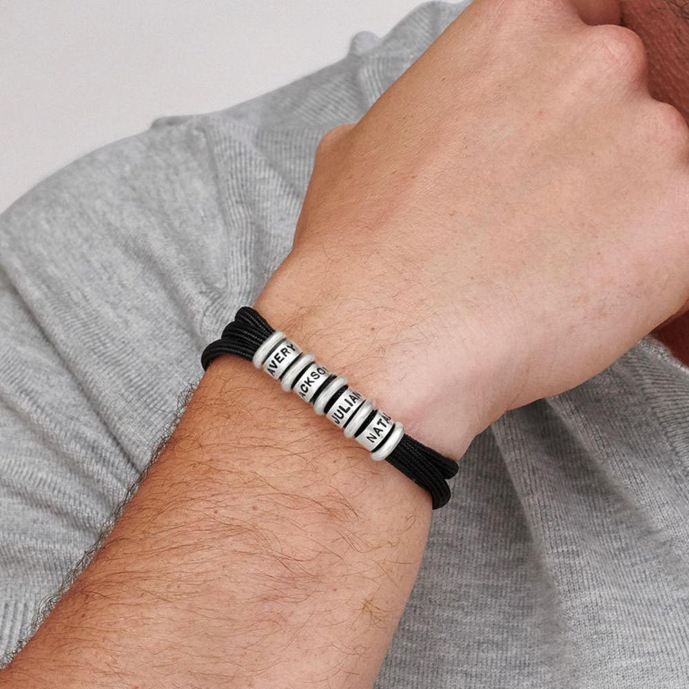 Men Cord Bracelet with Custom Beads - 3