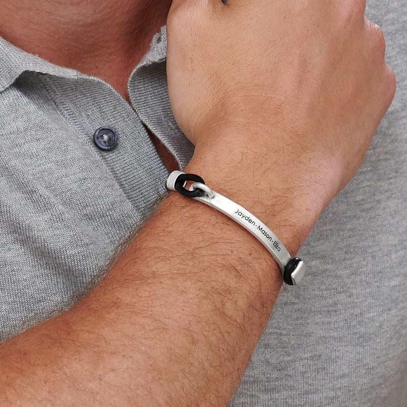 Personalised Rubber Bracelet with Engravable Bar in Silver - 1