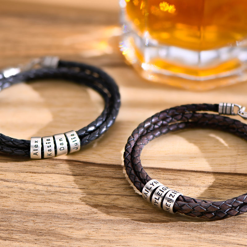Men Braided Leather Bracelet with Small Custom Beads in Silver  - 3