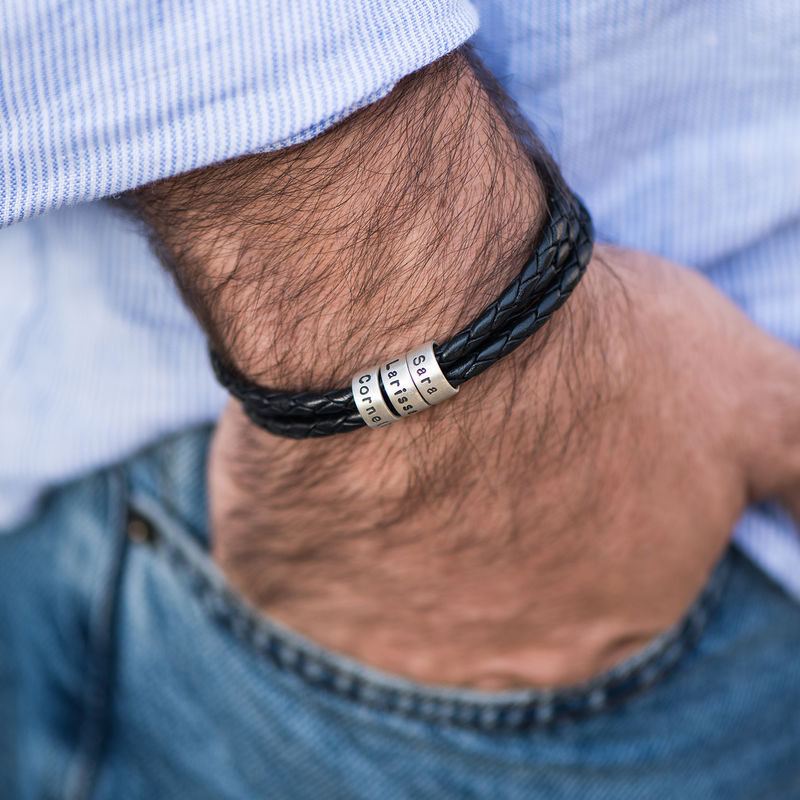Men Braided Leather Bracelet with Small Custom Beads in Silver  - 4