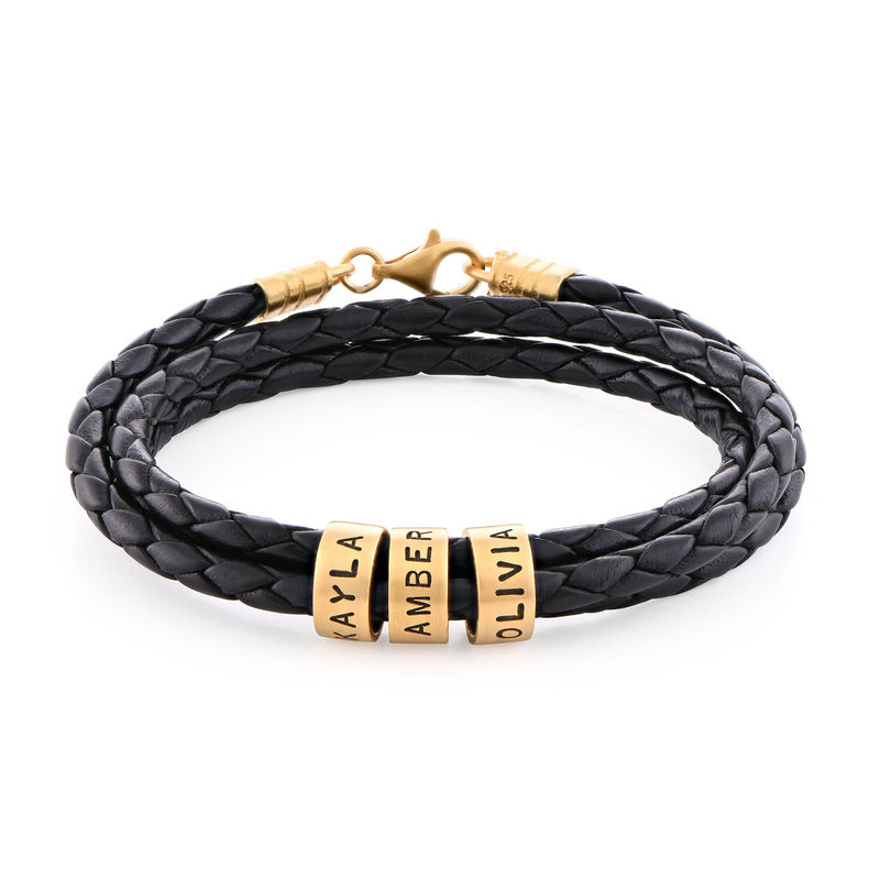 Men Braided Leather Bracelet with Small Custom Beads in 18k Gold Vermeil